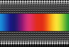 Mesh and Rainbow Spectrum. Abstract illustration of silver and black mesh on a horizontal axis with a rainbow spectrum central section Stock Photography