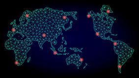 Polygonal Wire Frame Mesh Map of Earth V3 with Red Light Spots stock illustration
