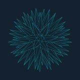 Mesh Sphere torcido iluminado 3d abstracto Muestra de neón Tecnología futurista HUD Element Elegante destruido Foto de archivo libre de regalías