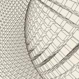 Mesh Sphere torcido iluminado 3d abstracto Muestra de neón Tecnología futurista HUD Element Elegante destruido grande stock de ilustración