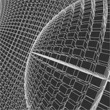 Mesh Sphere torcido iluminado 3d abstracto Muestra de neón Tecnología futurista HUD Element Elegante destruido grande libre illustration