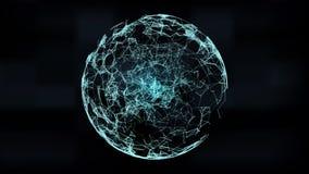 Mesh Sphere tordu lumineux par 3d abstrait Signe au néon Technologie futuriste HUD Element Élégant détruit illustration stock