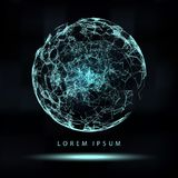 Mesh Sphere tordu lumineux par 3d abstrait Signe au néon Technologie futuriste HUD Element Élégant détruit B Photo stock