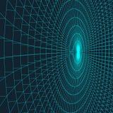 Mesh Sphere tordu lumineux par 3d abstrait Signe au néon Technologie futuriste HUD Element Élégant détruit grand illustration de vecteur