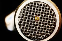 Mesh surface of microphone stock image