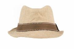 Mesh tan Fedora hat on white Stock Photography