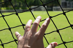 Mesh touch. Man`s hand extended to touch the mesh of a football field stock photos