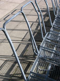 Mesh trolleys. A row of mesh trolleys at a garden centre royalty free stock images