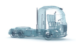 Mesh truck isolated on white .  3D illustration Royalty Free Stock Photography