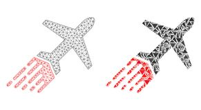 Polygonal Carcass Mesh Air Liner and Mosaic Icon stock illustration