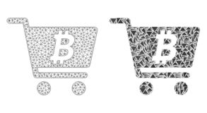 Polygonal Wire Frame Mesh Bitcoin Webshop and Mosaic Icon stock illustration