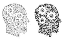 Polygonal Wire Frame Mesh Brain Gears and Mosaic Icon stock illustration