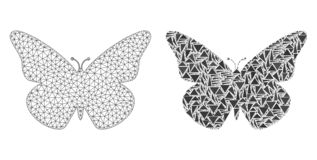 Polygonal Network Mesh Butterfly and Mosaic Icon royalty free illustration