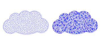 Polygonal 2D Mesh Cloud and Mosaic Icon stock illustration