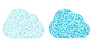 Polygonal Network Mesh Cloud and Mosaic Icon royalty free illustration
