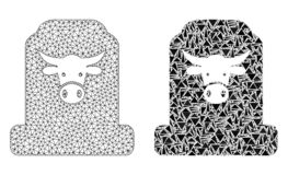 Polygonal Carcass Mesh Cow Cemetery and Mosaic Icon vector illustration