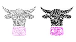 Polygonal 2D Mesh Cow Head and Mosaic Icon vector illustration