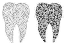 Polygonal Wire Frame Mesh Dental Tooth and Mosaic Icon royalty free illustration