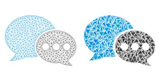Polygonal Network Mesh Forum Messages and Mosaic Icon royalty free illustration
