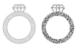 Polygonal 2D Mesh Gem Ring and Mosaic Icon royalty free illustration