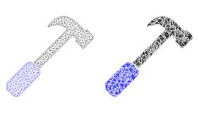 Polygonal Wire Frame Mesh Hammer and Mosaic Icon vector illustration