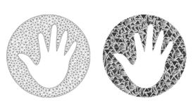 Polygonal Wire Frame Mesh Hand Circle and Mosaic Icon royalty free illustration