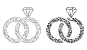 Polygonal Wire Frame Mesh Jewelry Wedding Rings and Mosaic Icon royalty free illustration