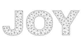 Polygonal 2D JOY Text Caption. Mesh vector JOY text. Abstract lines and dots form JOY black carcass symbols. Linear carcass flat polygonal mesh in vector EPS royalty free illustration