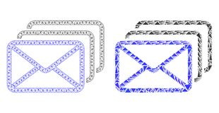 Polygonal Carcass Mesh Mail Queue and Mosaic Icon royalty free illustration