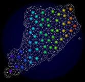 Polygonal 2D Mesh Map of Staten Island with Colorful Light Spots. Mesh vector map of Staten Island with glare effect on a dark background. Light spots have vector illustration