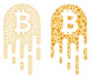 Polygonal 2D Mesh Melting Bitcoin and Mosaic Icon vector illustration