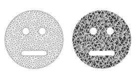 Polygonal Network Mesh Neutral Smiley and Mosaic Icon. Mesh vector neutral smiley with flat mosaic icon isolated on a white background. Abstract lines, triangles royalty free illustration