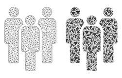 Polygonal Carcass Mesh People and Mosaic Icon royalty free illustration