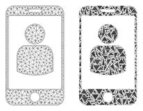 Polygonal Carcass Mesh Smartphone User and Mosaic Icon stock illustration