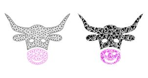 Polygonal Carcass Mesh Smiled Cow Head and Mosaic Icon. Mesh vector smiled cow head with flat mosaic icon isolated on a white background. Abstract lines stock illustration