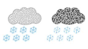 Polygonal 2D Mesh Snow Cloud and Mosaic Icon stock illustration