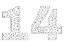 Polygonal Mesh 14 Text Caption. Mesh vector 14 text. Abstract lines and circle dots are organized into 14 black carcass symbols. Wire carcass flat triangular royalty free illustration