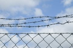 Free Mesh Wire Fence With Barbwire On Top Royalty Free Stock Photos - 108264798