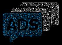 Mesh Wire Frame Ads Messages brilhante com pontos instantâneos ilustração stock