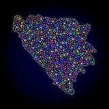 Mesh Wire Frame Map av Bosnien och Hercegovina med f?rgrika ljusa fl?ckar vektor illustrationer