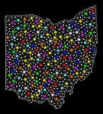 Mesh Wire Frame Map del estado de Ohio con los puntos ligeros coloridos libre illustration