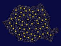 Mesh Wire Frame Romania Map jaune avec les taches instantanées illustration stock