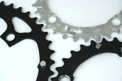 Meshed. Gears on white royalty free stock photos