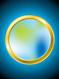 Meshed golden ring. With blue backdrop Stock Images