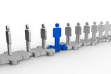 Meshed jigsaw pieces with human forms with one in blue. Standing in the opposite way Royalty Free Stock Photos