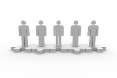 Meshed jigsaw pieces with human forms standing in line. On white background Stock Photos