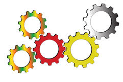 Meshing  gear. On white background,industrial driving Stock Photography