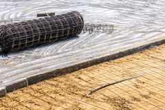 Meshing rebar for flooring with cement Royalty Free Stock Image