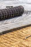Meshing rebar for flooring with cement Stock Photo