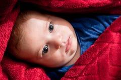3 mesi adorabili di bambino che si trova sul letto coperto di coperta rossa. Immagini Stock
